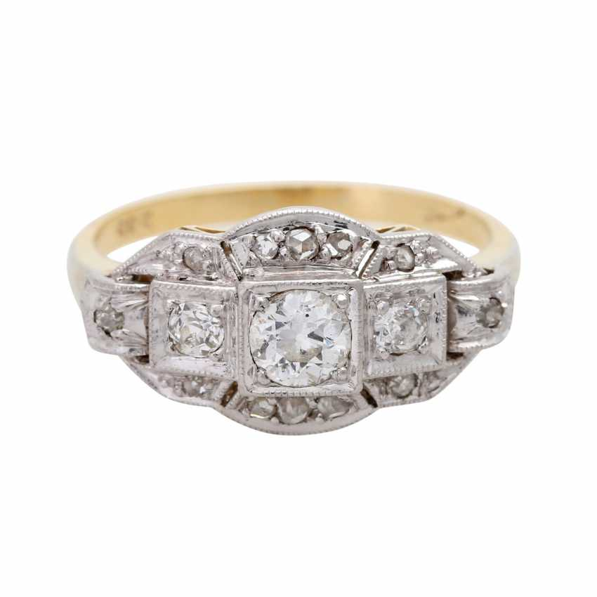 Ladies ring studded with 3 old European cut diamonds - photo 1