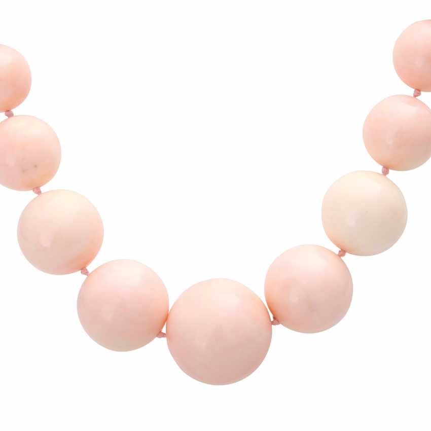Necklace, large angel skin coral balls - photo 2