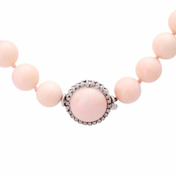 Necklace, large angel skin coral balls - photo 3