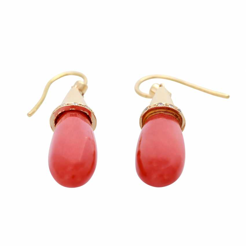 Earrings with fine precious coral pampeln - photo 2