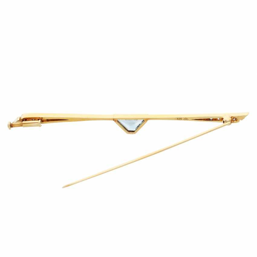 Bar brooch with 1 aquamarine - photo 3