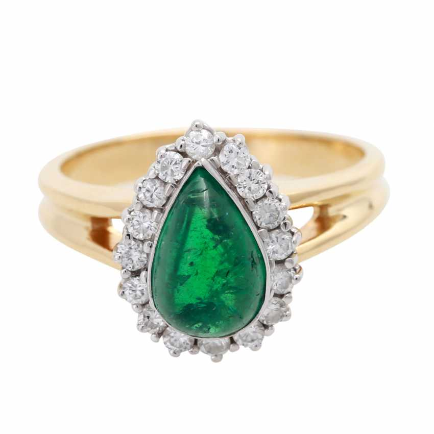 Ladies ring with 1 emerald drop - photo 1
