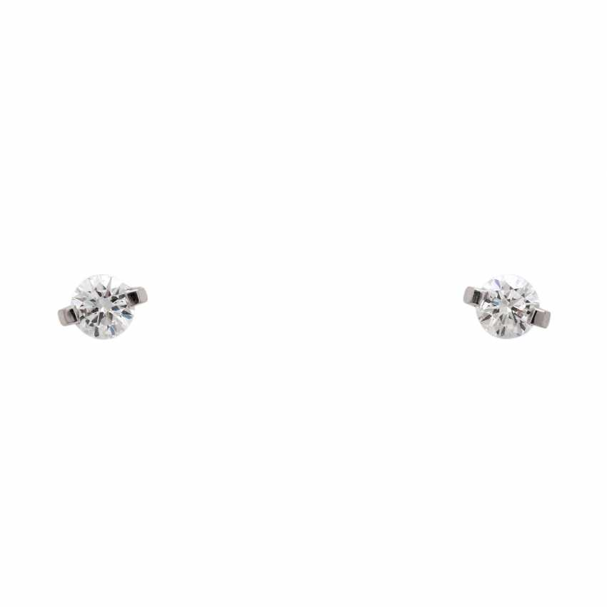 Solitaire stud earrings with 1 diamond, approx 0.4 ct, - photo 1