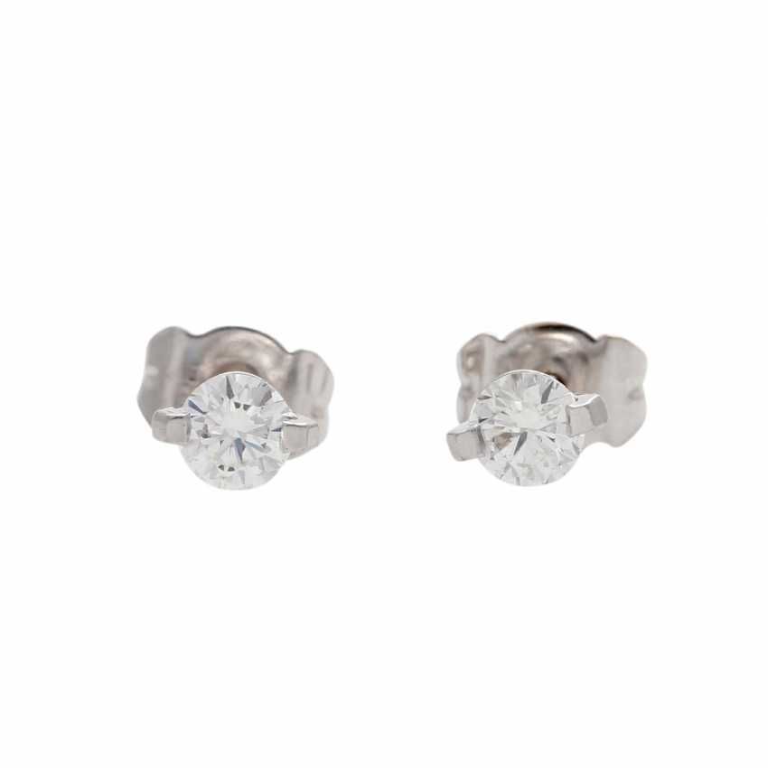 Solitaire stud earrings with 1 diamond, approx 0.4 ct, - photo 2