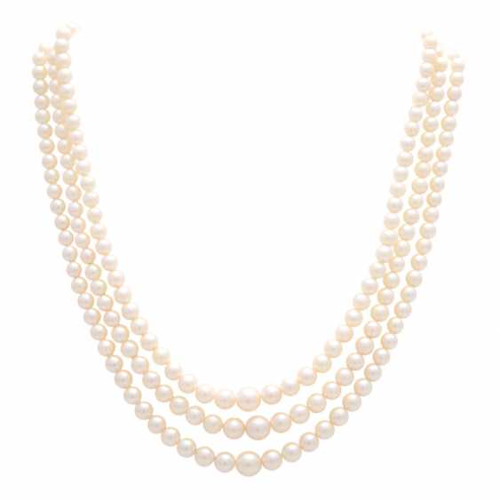 Necklace, cultured pearls, 3 rows over, - photo 1