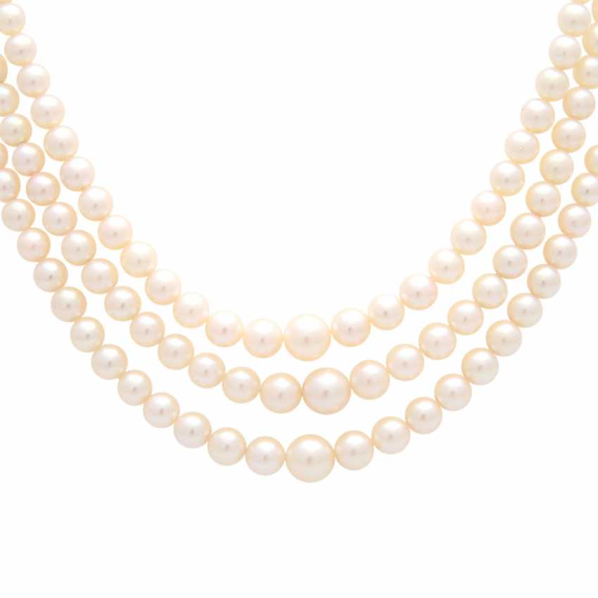 Necklace, cultured pearls, 3 rows over, - photo 2
