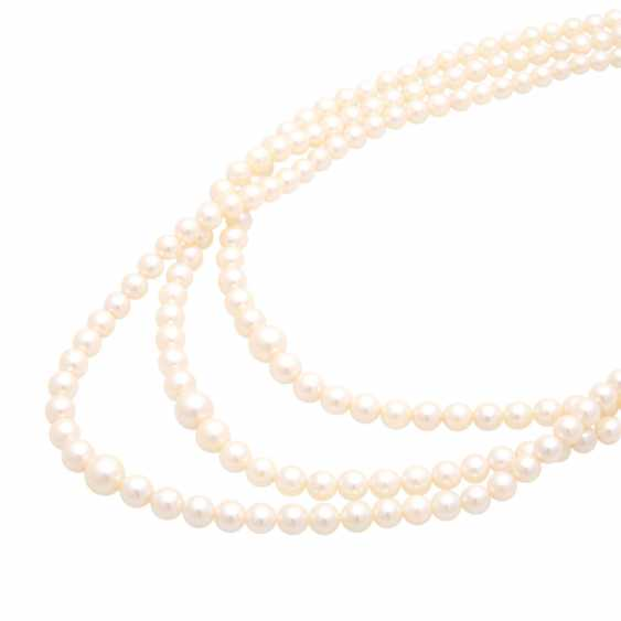 Necklace, cultured pearls, 3 rows over, - photo 4