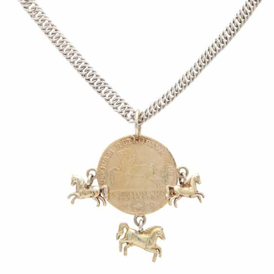 Silver chain with coin pendant, - photo 2