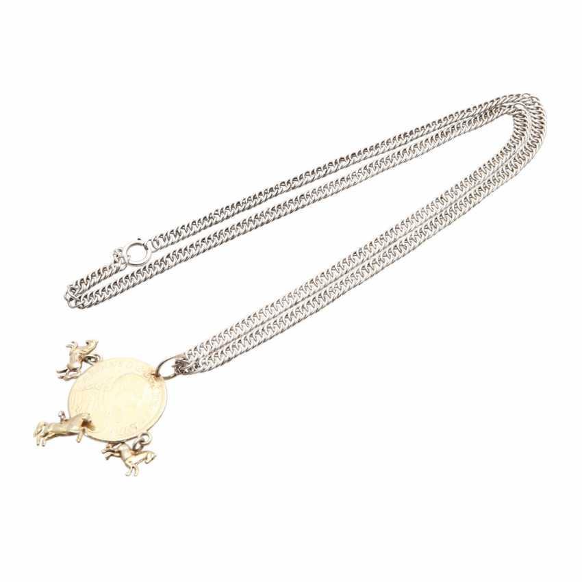 Silver chain with coin pendant, - photo 4