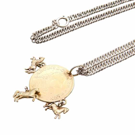Silver chain with coin pendant, - photo 5