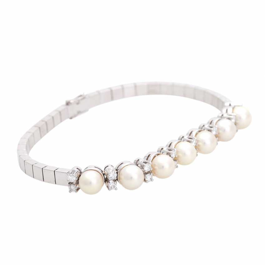 Bracelet with 7 cultured pearls and 16 diamonds, - photo 2