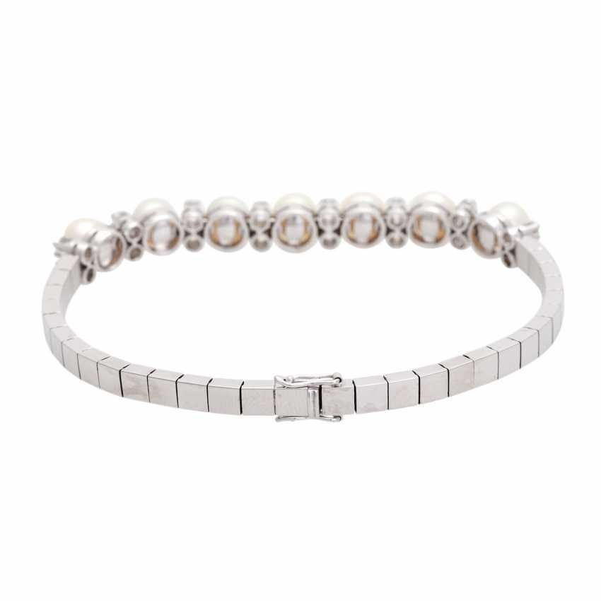 Bracelet with 7 cultured pearls and 16 diamonds, - photo 3
