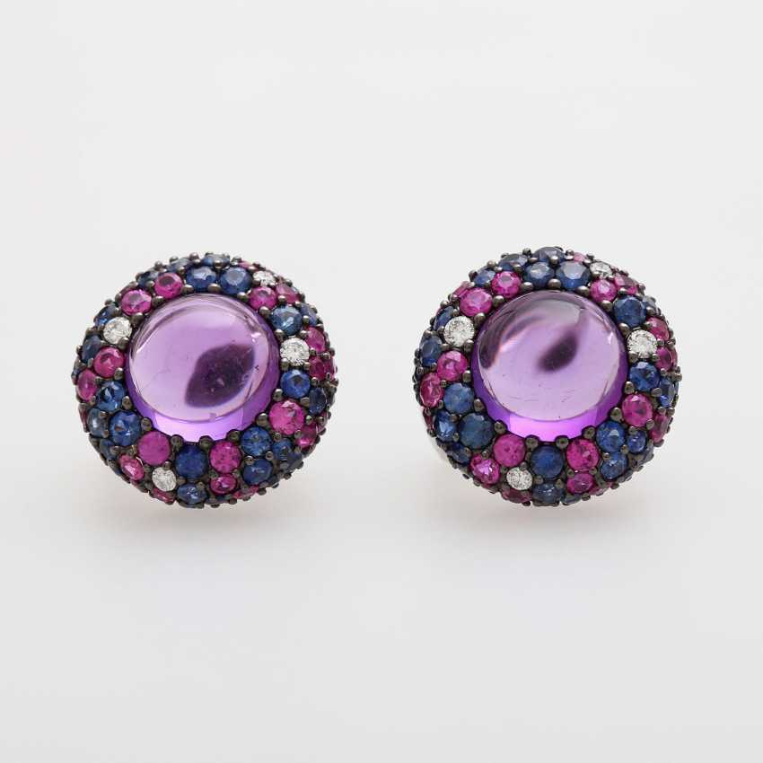 Ear clip plug W / Amethyst Cabochons occupied - photo 1