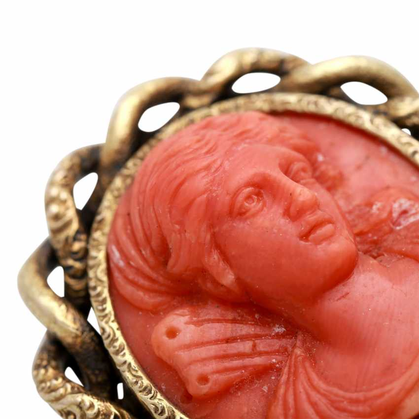 Brooch encrusted with a coral - Kamée, - photo 4