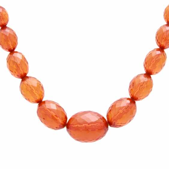 Amber necklace in the history, olive-shaped, faceted, - photo 2