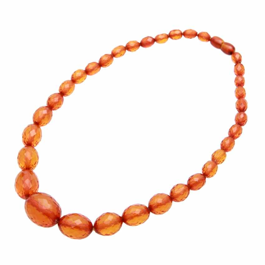 Amber necklace in the history, olive-shaped, faceted, - photo 3