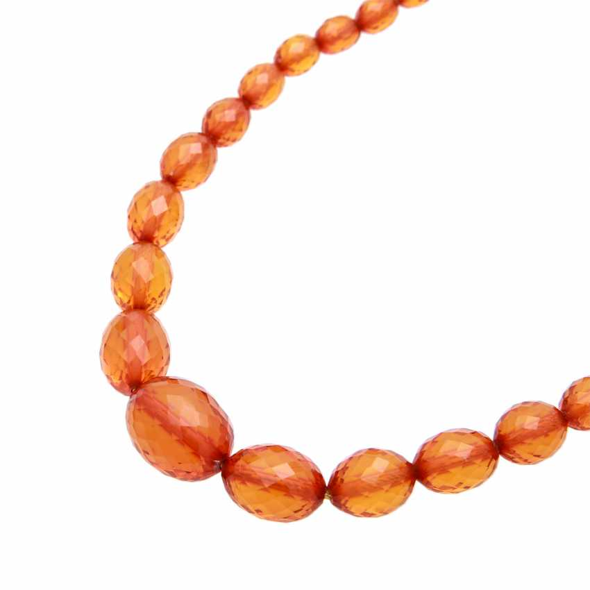 Amber necklace in the history, olive-shaped, faceted, - photo 4