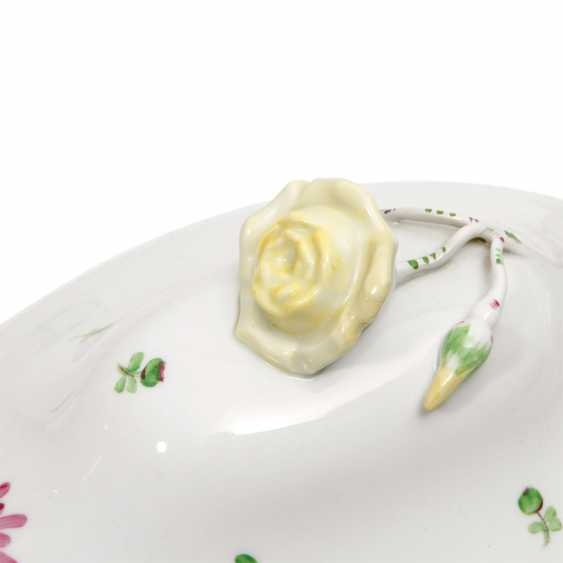 HEREND oval lid terrine 'scattered flowers', 2 to. Choice, 20. Century - photo 6
