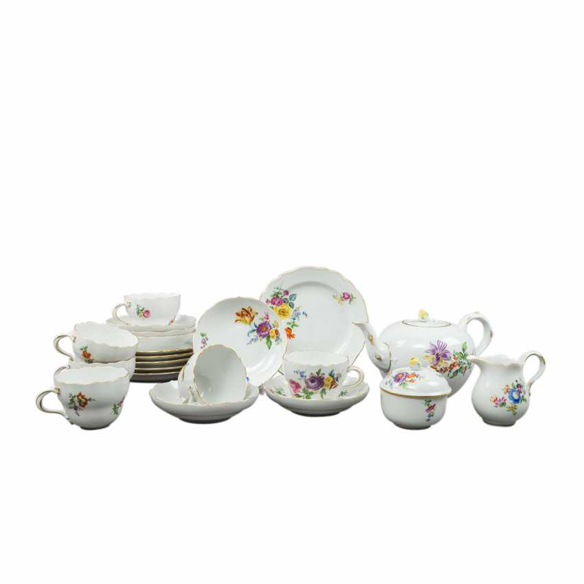 MEISSEN tea and coffee service for 6 persons 'German flower', 1. Choice, 20. Century - photo 1
