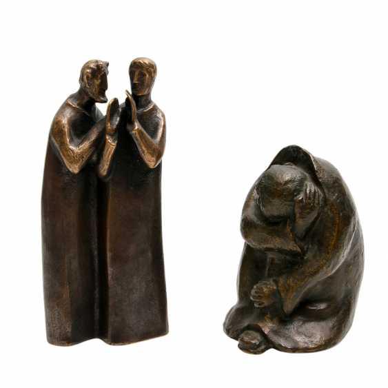 Konvolut 2 Figuren, Bronze, 20. JahrhunderTiefe: - photo 1