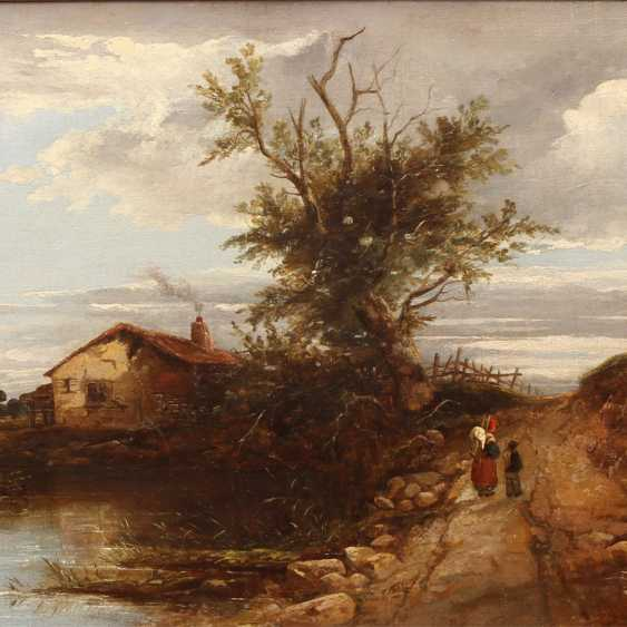 """MÜLLER, K. R. (painter 19. Century), """"Romantic landscape with a small house on the lake"""", - photo 1"""