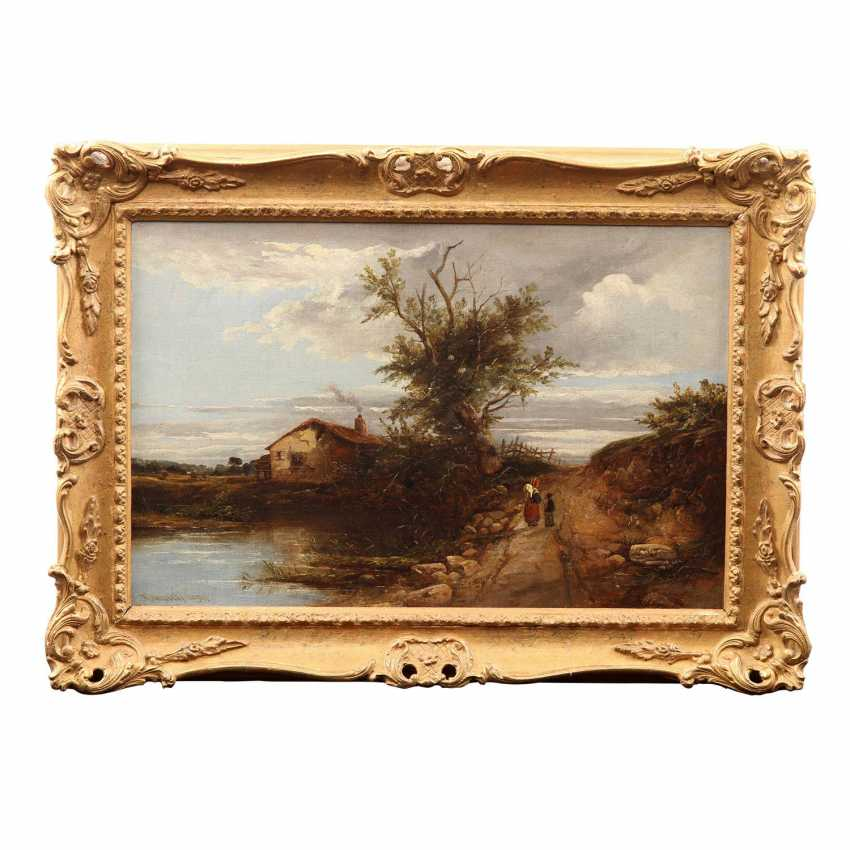 """MÜLLER, K. R. (painter 19. Century), """"Romantic landscape with a small house on the lake"""", - photo 2"""