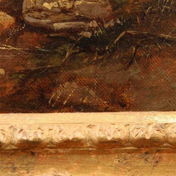 """MÜLLER, K. R. (painter 19. Century), """"Romantic landscape with a small house on the lake"""", - photo 4"""