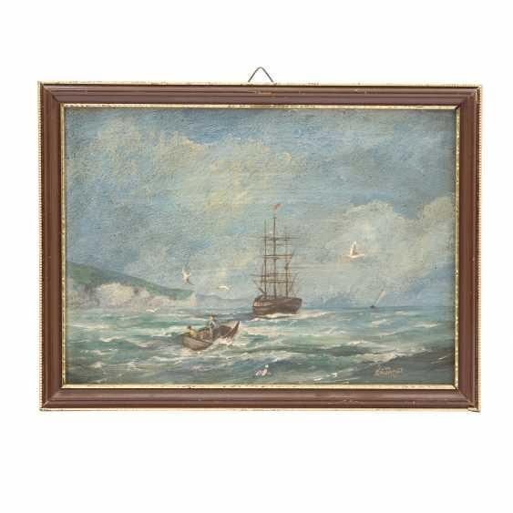 "JAMES, ROY E. (painter 19./20. Century), PAIR of Marine ""sailing ships off the coast of"", - photo 2"