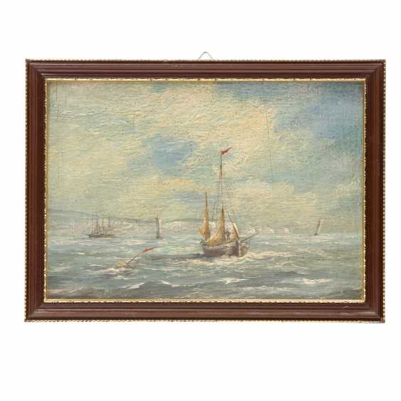"JAMES, ROY E. (painter 19./20. Century), PAIR of Marine ""sailing ships off the coast of"", - photo 3"