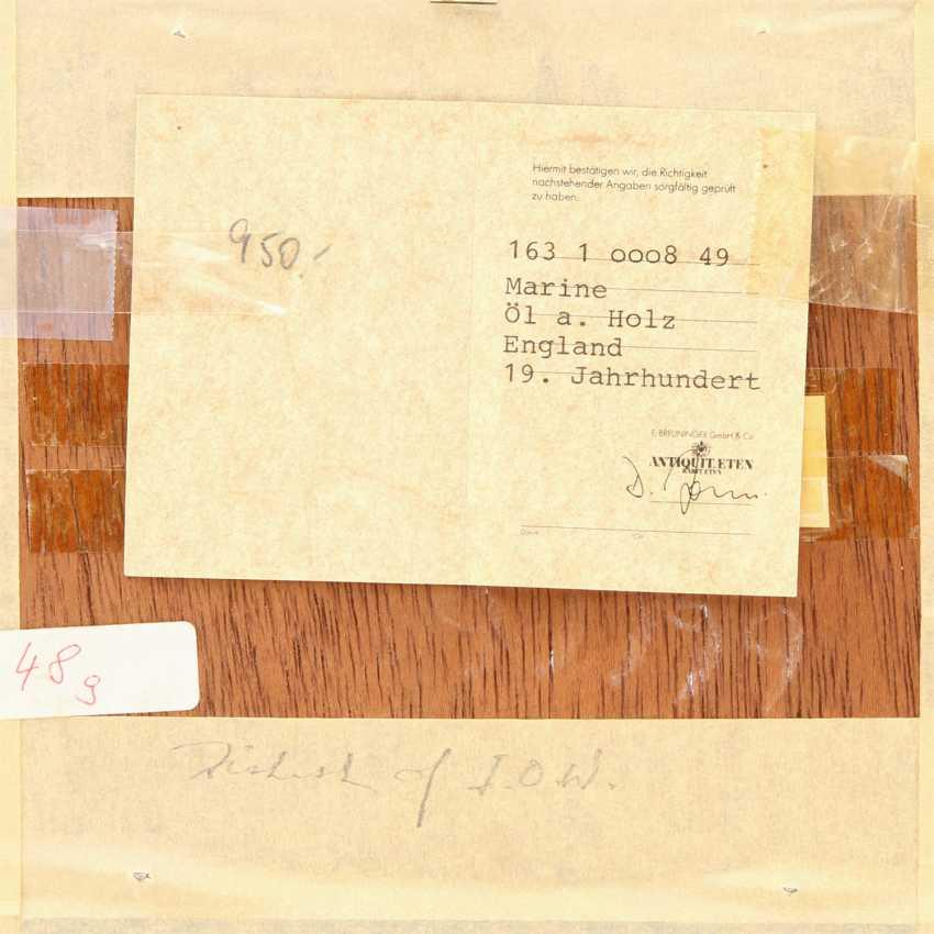 "JAMES, ROY E. (painter 19./20. Century), PAIR of Marine ""sailing ships off the coast of"", - photo 6"