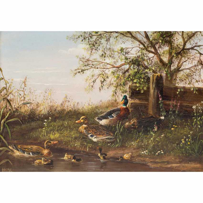 """LADAS, Anneliese (née. In 1941 in Augsburg, Germany), 2 landscapes: """"mushroom hunters in a forest pond"""" & """"ducks on the shore"""", - photo 2"""