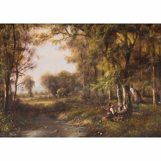 """LADAS, Anneliese (née. In 1941 in Augsburg, Germany), 2 landscapes: """"mushroom hunters in a forest pond"""" & """"ducks on the shore"""", - photo 3"""