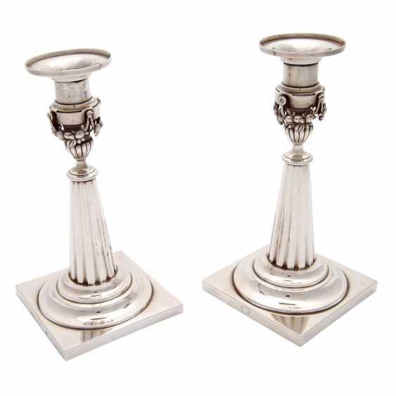 Pair of candlesticks, silver, 19. Century - photo 2