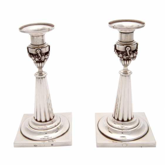 Pair of candlesticks, silver, 19. Century - photo 3