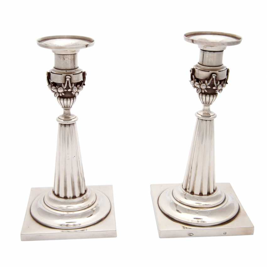 Pair of candlesticks, silver, 19. Century - photo 4