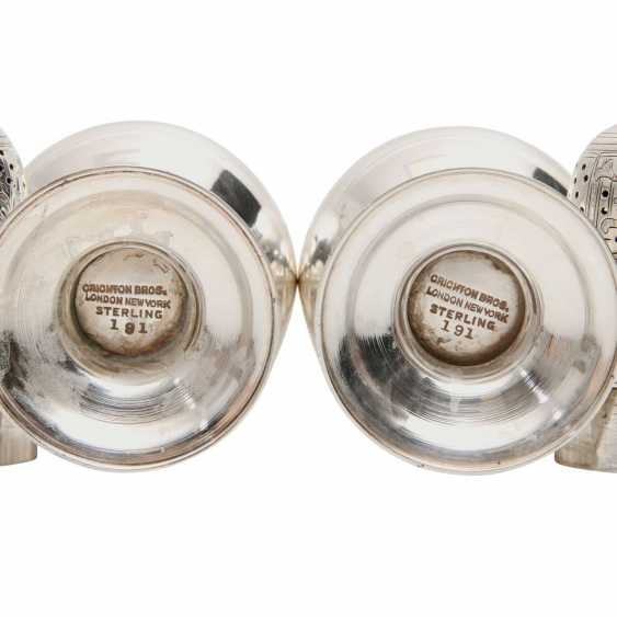 CRICHTON BROS., New York Pair Of Salt And Pepper Shakers, 925 Silver, 20. Century - photo 3