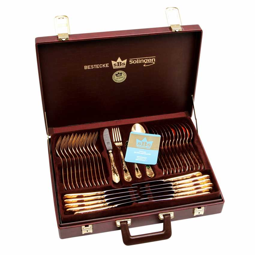 SBS Solingen dining Cutlery for 12 persons in suitcase, hard gold plated, 20. Century - photo 1