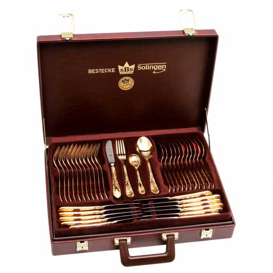 SBS Solingen dining Cutlery for 12 persons in suitcase, hard gold plated, 20. Century - photo 2