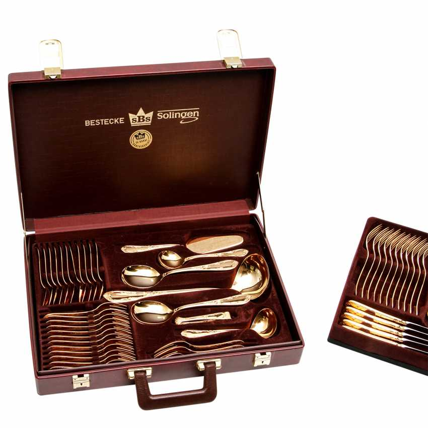SBS Solingen dining Cutlery for 12 persons in suitcase, hard gold plated, 20. Century - photo 5