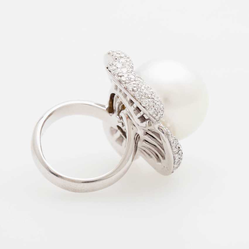 "Womens ring ""flower"" occupied m. a South sea cultured pearl - photo 3"