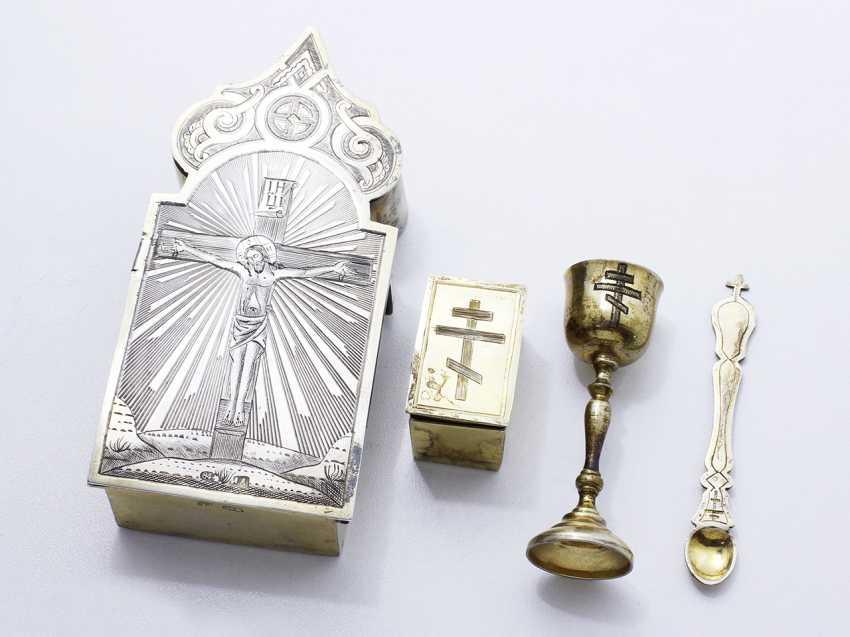 Rare necessary travel in eucharistic vermeil 84 zolotniks - photo 1