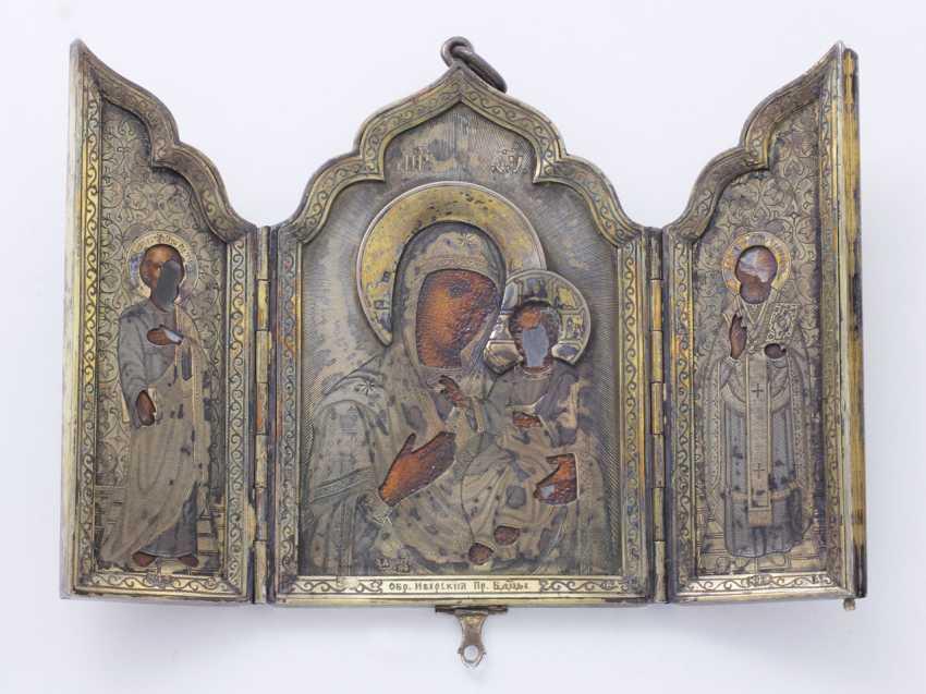 Icon triptych travel vermeil 84 zolotniks - photo 1