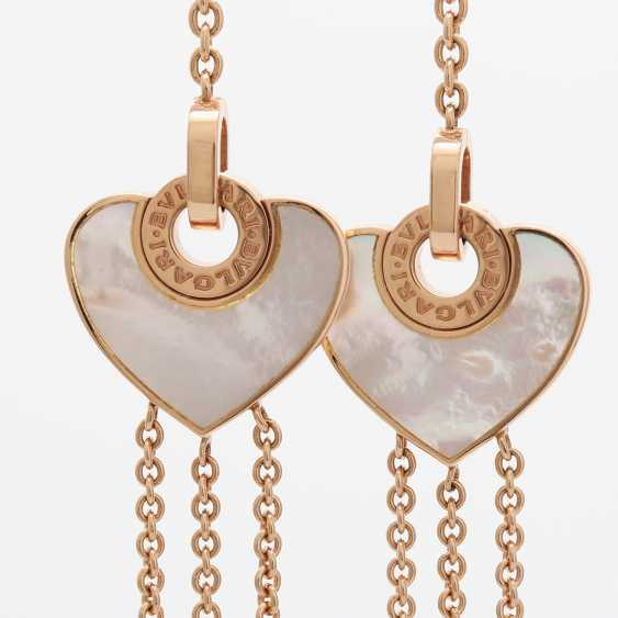 BULGARI necklace with 2 mother of pearl hearts. - photo 6