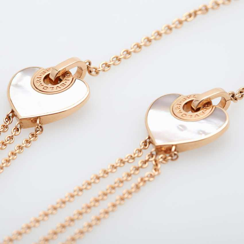 BULGARI necklace with 2 mother of pearl hearts. - photo 3