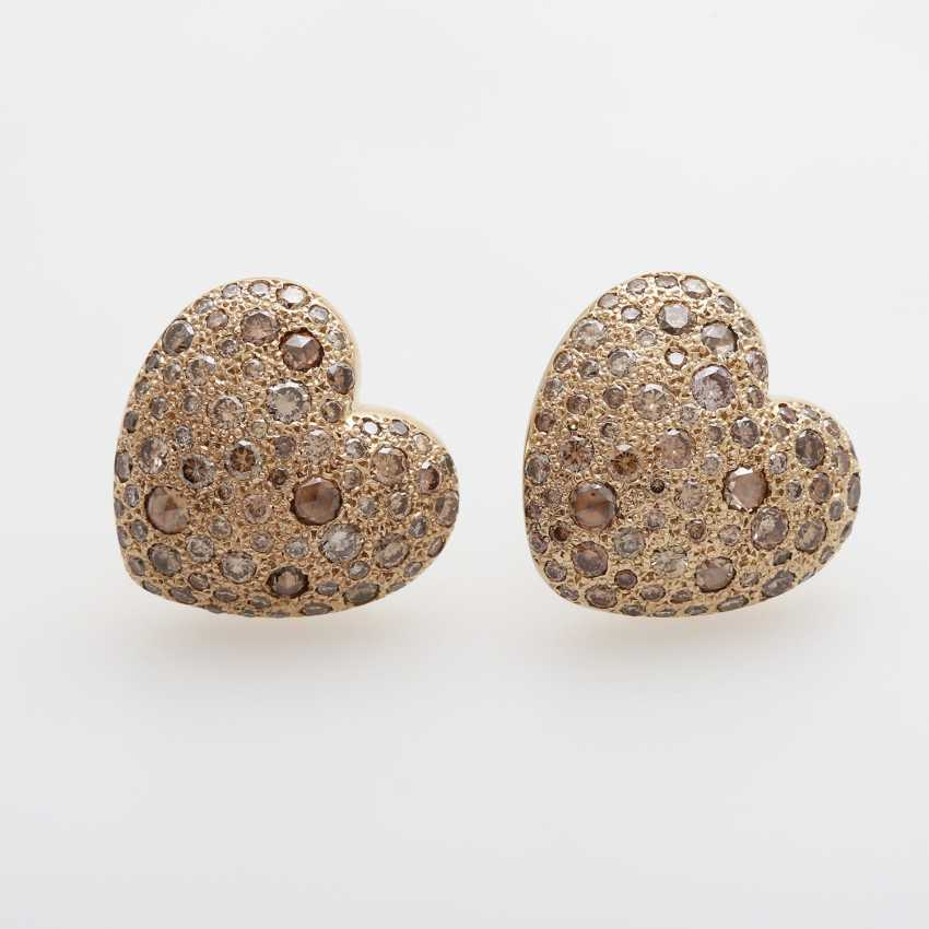 "Ear studs ""heart"" sums up m. diamond - photo 1"