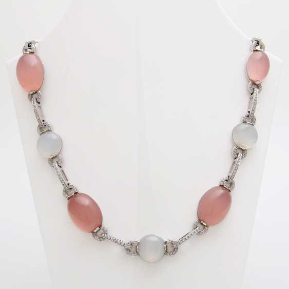 Necklace, rose quartz & moonstone Cabochons, - photo 1