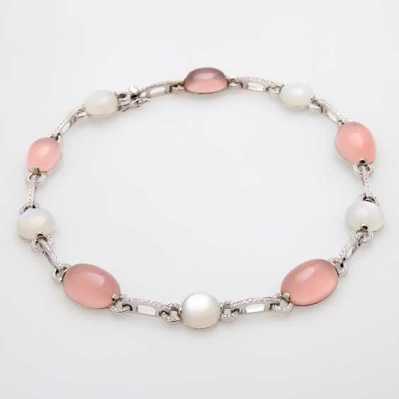 Necklace, rose quartz & moonstone Cabochons, - photo 3