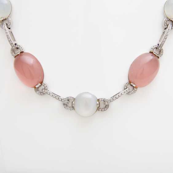 Necklace, rose quartz & moonstone Cabochons, - photo 2