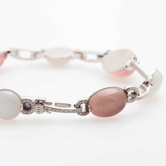 Necklace, rose quartz & moonstone Cabochons, - photo 4