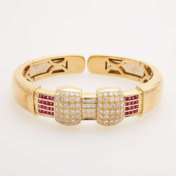 Bangle bes. with brilliants, diamonds and rubies; - photo 1